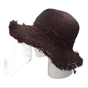 NWT August Hat Company Brown Straw Ragged Edge